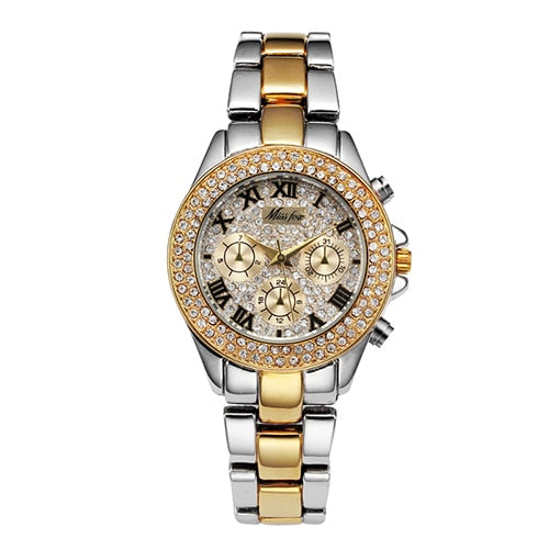 MISSFOX Women Watches Luxury Watch Women Fashion 2020 Fake Chronograph Roman Numerals 18K Gold Ladies Watches Quartz Wristwatch