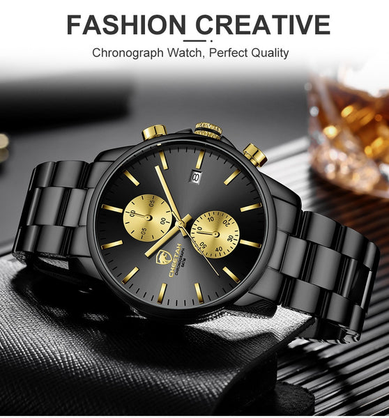 CHEETAH Men's Watch with Stainless Steel Band Luxury Business Male Watches Waterproof Quartz Men Wrist Watches Relogio Masculino