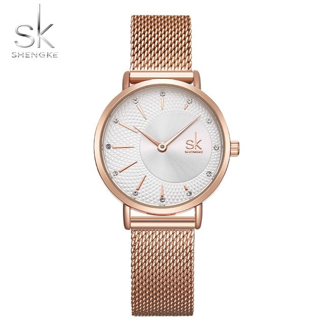 Shengke New Creative Women Watches Luxury Rosegold Quartz Ladies Watches Relogio Feminino Mesh Band Wristwatches Reloj Mujer