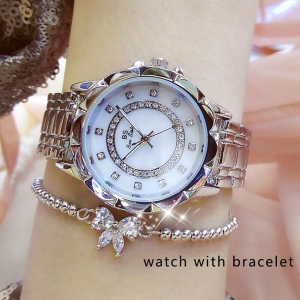 Women Luxury Brand Watch 2019 Rhinestone Elegant Ladies Watches Gold