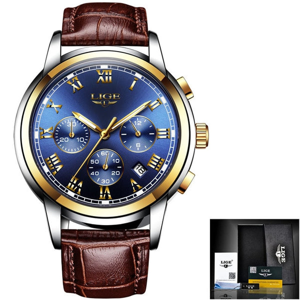 LIGE Watch For Men Top Brand Luxury Waterproof 24 Hour Date Quartz  Brown Leather Sports WristWatch Relogio Masculino 2020
