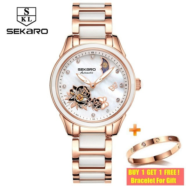 Sekaro 2020 Ceramic Women Watch Butterfly Design Ladies Mechanical Automatic Watches Luxury Brand Sapphire Crystal Women's Watch
