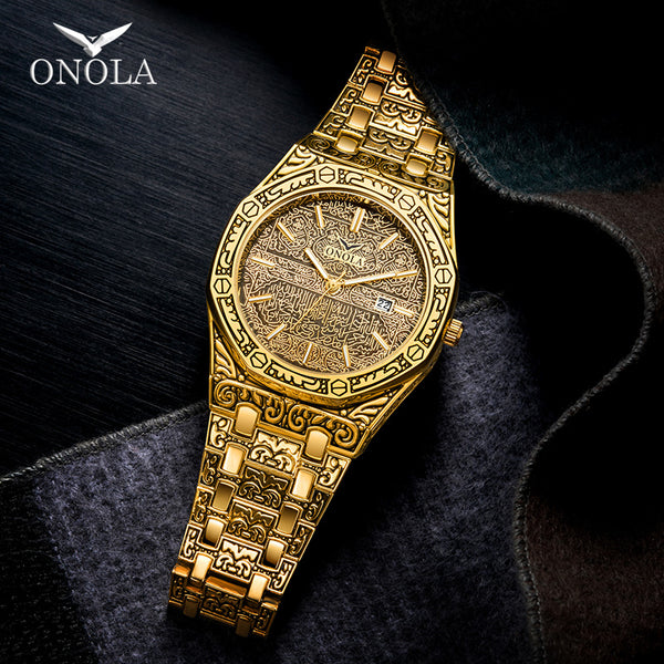 ONOLA vintage carved watch man waterproof Original steel band wristwatch fashion classic designer luxury brand golden mens watch