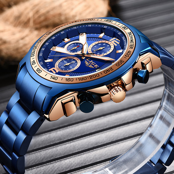 LIGE 2020 New Fashion Quartz Men Watch Stainless Steel