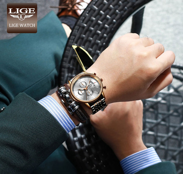 LIGE 2020New Watches Fashion Quartz  Top Brand Analog Military Male Watch