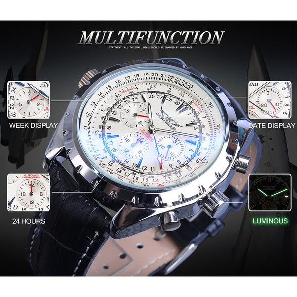 Jaragar Aviator Series Three Dial Display Luxury Luminours Hands Leather Mens Mechanical Automatic Wrist Watch Top Brand Luxury