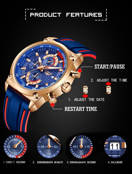 2019 LIGE New Mens Watches Top Brand Luxury Dial Male Fashion Silicone Waterproof Quartz Gold Watch Men Sport Chronograph
