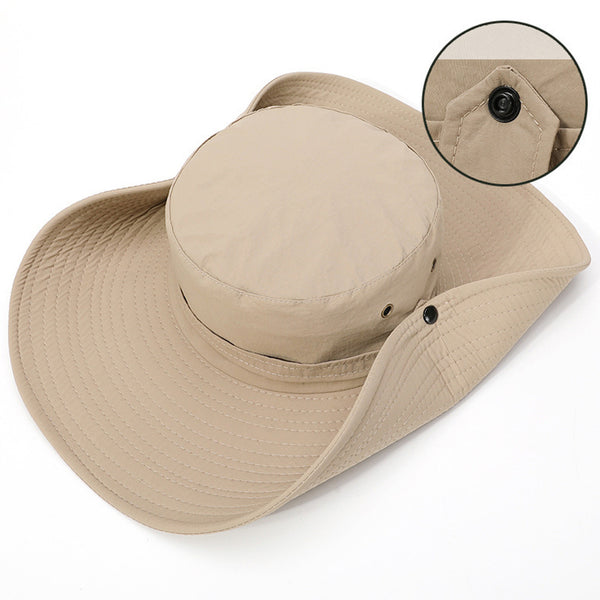 2020 New Fashion Summer Bucket Hat Cowboy Men Outdoor Fishing Hiking Beach Hats Mesh Breathable Anti UV Sun Cap Large Wide Brim