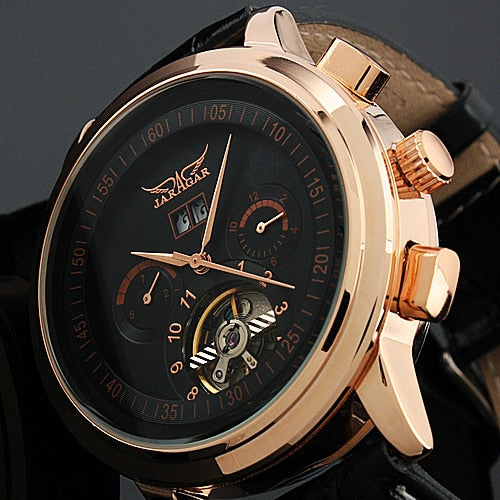 JARAGAR Men's Tourbillon Wrap Analog Auto Mechanical Wristwatch Date Week Display