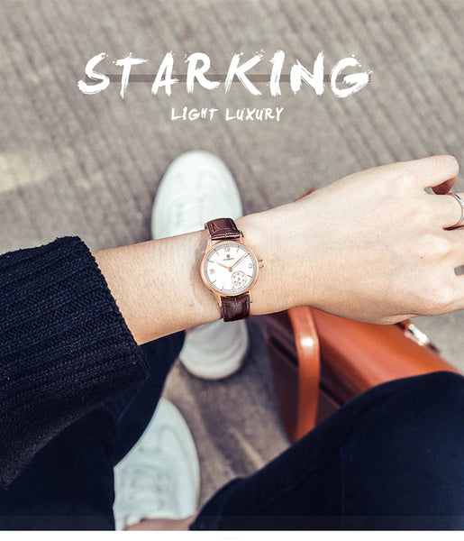 STARKING Automatic self winding women watches Stainless Steel Sapphire Crystal watch Waterproof 5ATM Auto Date Two Dials