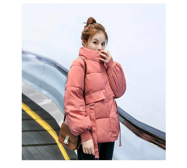 2020 New Winter Jacket Women Stand Collar Solid Black White Female Down Coat Loose Oversized Womens Short Parka Down jacket