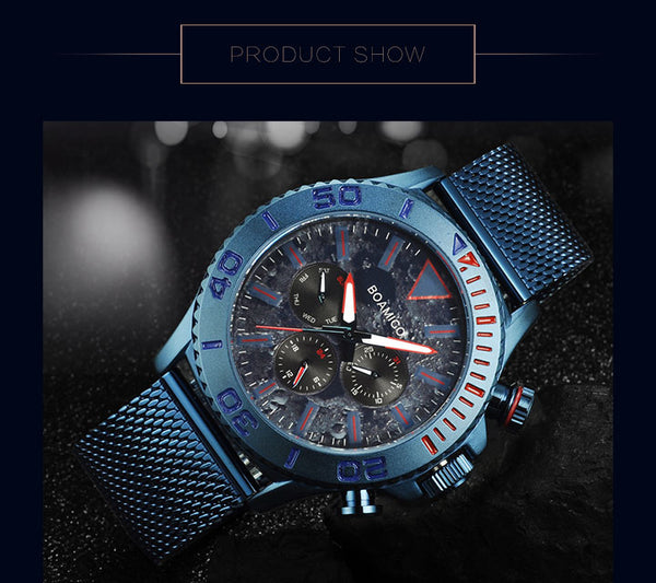 BOAMIGO top luxury brand men watches fashion sport business quartz watch date week  stainless steel mesh wristwatches
