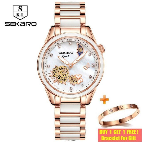 SEKARO 2020 Women Ceramic Quartz Watches Butterfly Design Sapphire Crystal Women's Wristwatch Top Brand Luxury Watches For Gift