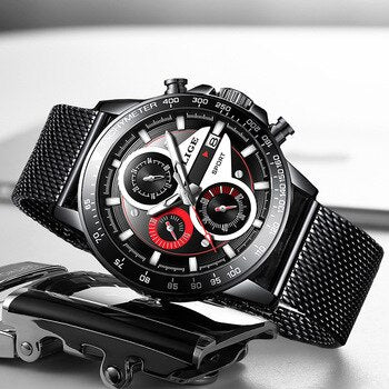 2020 LIGE Top Brand Fashion men Watches Sport Waterproof Stainless Steel Mesh Belt Quartz