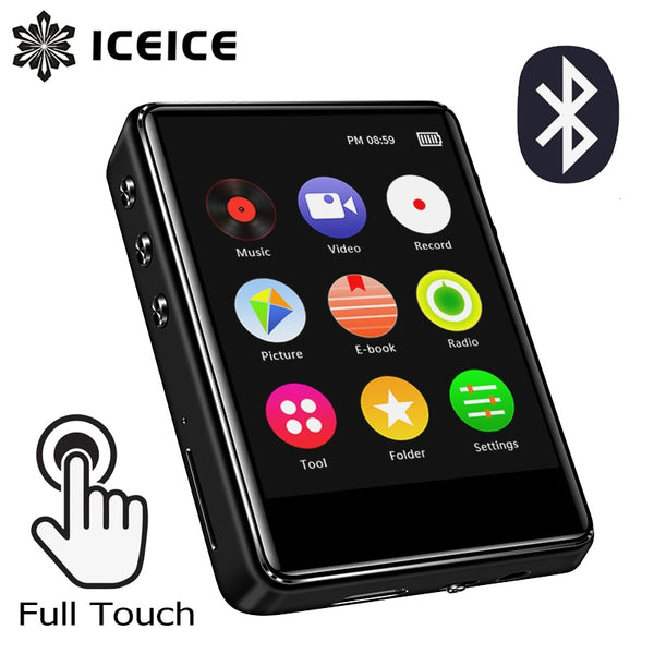 ICEICE MP4 Player with Bluetooth Built-in Speaker 2.4 inch Full Touch Screen FM Radio Recording E-book Music Video Player MP 4