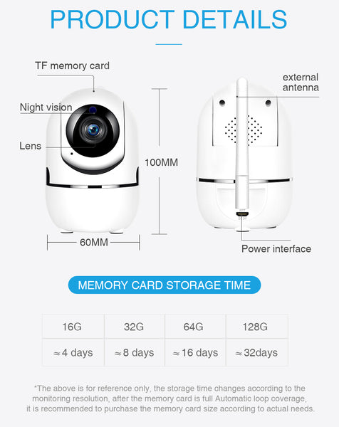 APEACH Black Smart Home Security Surveillance 1080P Cloud IP Camera Auto Tracking Network WiFi Camera Wireless CCTV YCC365 PLUS