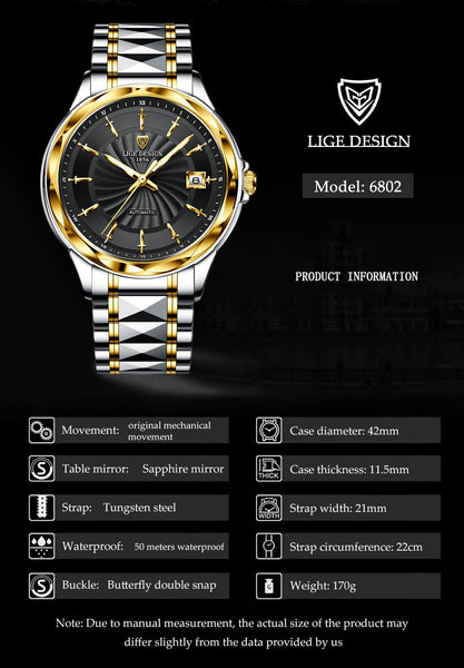 LIGE New High-end luxury Mens Watches Automatic Mechanical Tungsten Steel Sapphire Glass 50M Waterproof Watch Relogio Masculino