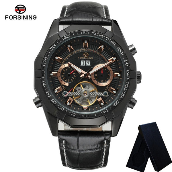 FORSINING Tourbillon Automatic Mechanical Men Wristwatch Military Sport Male Top Brand Luxury Black Classic Man Watch 340