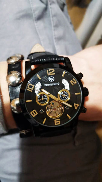 Forsining Tourbillion Fashion Wave Black Golden Multi Function Display Mens Automatic Mechanical Watches Top Brand Luxury