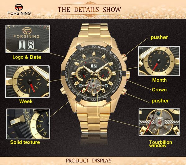FORSINING Tourbillon Automatic Mechanical Men Wristwatch Military Sport Male Top Brand Luxury Gold Classic Man Watch 340