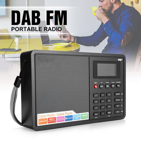 DAB Radio D1 DAB Receiver Portable Digital DAB+ FM Full Band Stereo Radio Speaker with LCD Display Alarm Clock