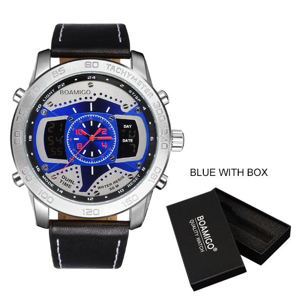 Top Men Watches Brand BOAMIGO Luxury LED Quartz Watch Dual Time Zone Automatic Date Military Digital Analog Watch часы