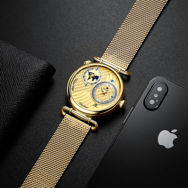 REWARD 2020 Luxury Golden Mens Quartz Watches Braided Shape Dial Multiple Time Zone Display Mesh Belt Top Brand Business Watch