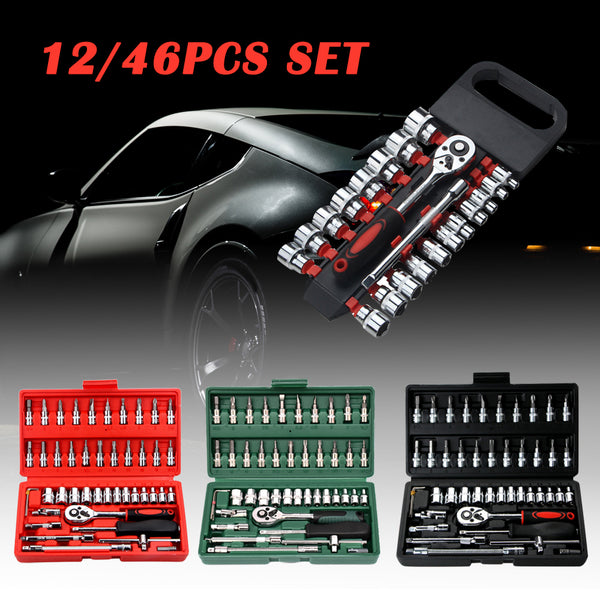 Car Repair Tool 46pcs 1/4-Inch Socket Set Car Repair Tool Ratchet Torque Wrench Combo Tools Kit Auto Repairing Tool Set