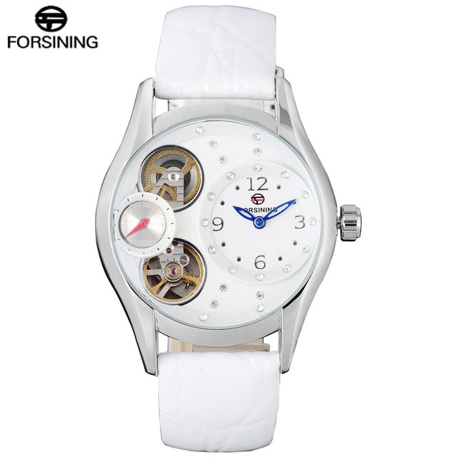FORSINING Brand 2017 Women Watch Simple High-End Business Watch Relogio Masculino Crystal Decorative Mechanical Watch