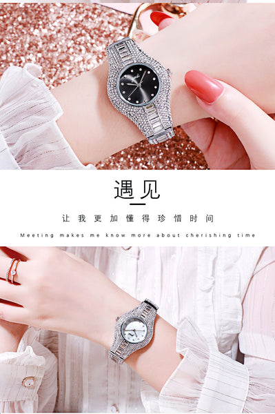 Diamond-Set Steel Belt Women Watch High-End Fashion Watrproof Watch Simple and Compact All-match Ladies Watch
