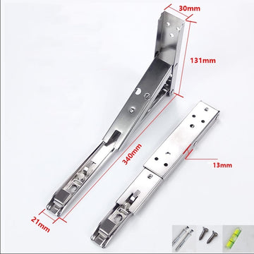 2PCS 14 Inch 90 Degree Triangle Stainless Steel Shelf Wall Mounted Adjustable Metal Folding Table Bracket