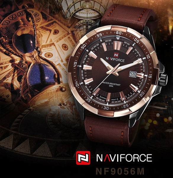 NAVIFORCE Mens Wristwatches Top Luxury Brand Fashion Sport Wristwatches Men Waterproof Quartz Male Army Military Leather Wrist Wristwatch