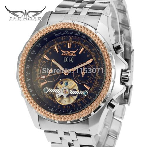 JARAGAR Fashion Wristwatch Mens Day Flywheel Auto Mechanical Stell Wristwatch Gift Box Xmas Gift Free Ship