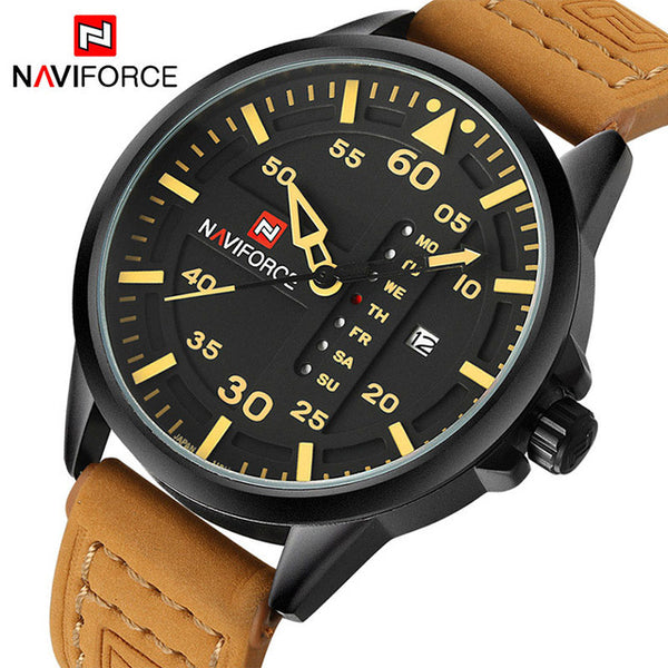 Top Luxury Brand NAVIFORCE Men Sports Wristwatches Men's Quartz Date Man Leather Army Military  Wristwatch