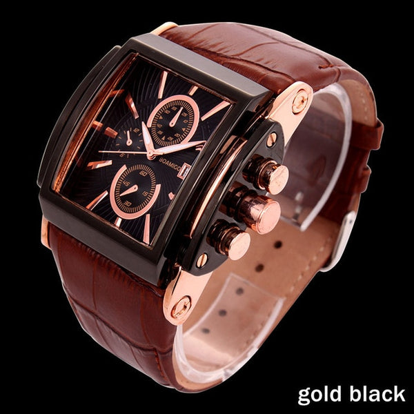 BOAMIGO men quartz watches large dial fashion casual sports watches rose gold sub dials Wristwatch brown leather male wrist watches