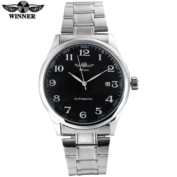 WINNER fashion casual men machanical Wristwatches stainless steel band silver case luxury automatic Wristwatches