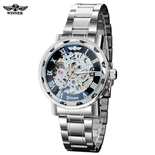 Winner band men fashion casual sports Automatic self wind Mechanical Skeleton Wristwatches Silver black full stainess steel Wristwatch