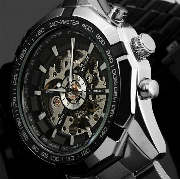 WINNER automatic Wristwatches Branded Mens Classic Stainless Steel Self Wind Skeleton Mechanical Wristwatch Fashion Cross Wristwatch