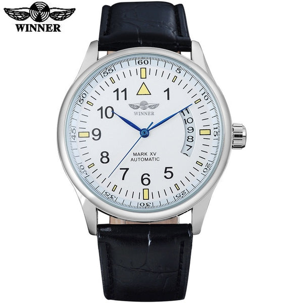 WINNER fashion brand men mechanical Wristwatches leather strap casual men's automatic silver case Wristwatches male Wristwatches es
