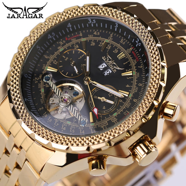 JARAGAR Brand Top Mens Wristwatches Relogio masculinos Luxury Gold Wristwatch Automatic Mechanical Stainless Steel Men Tourbillon Wristwatch