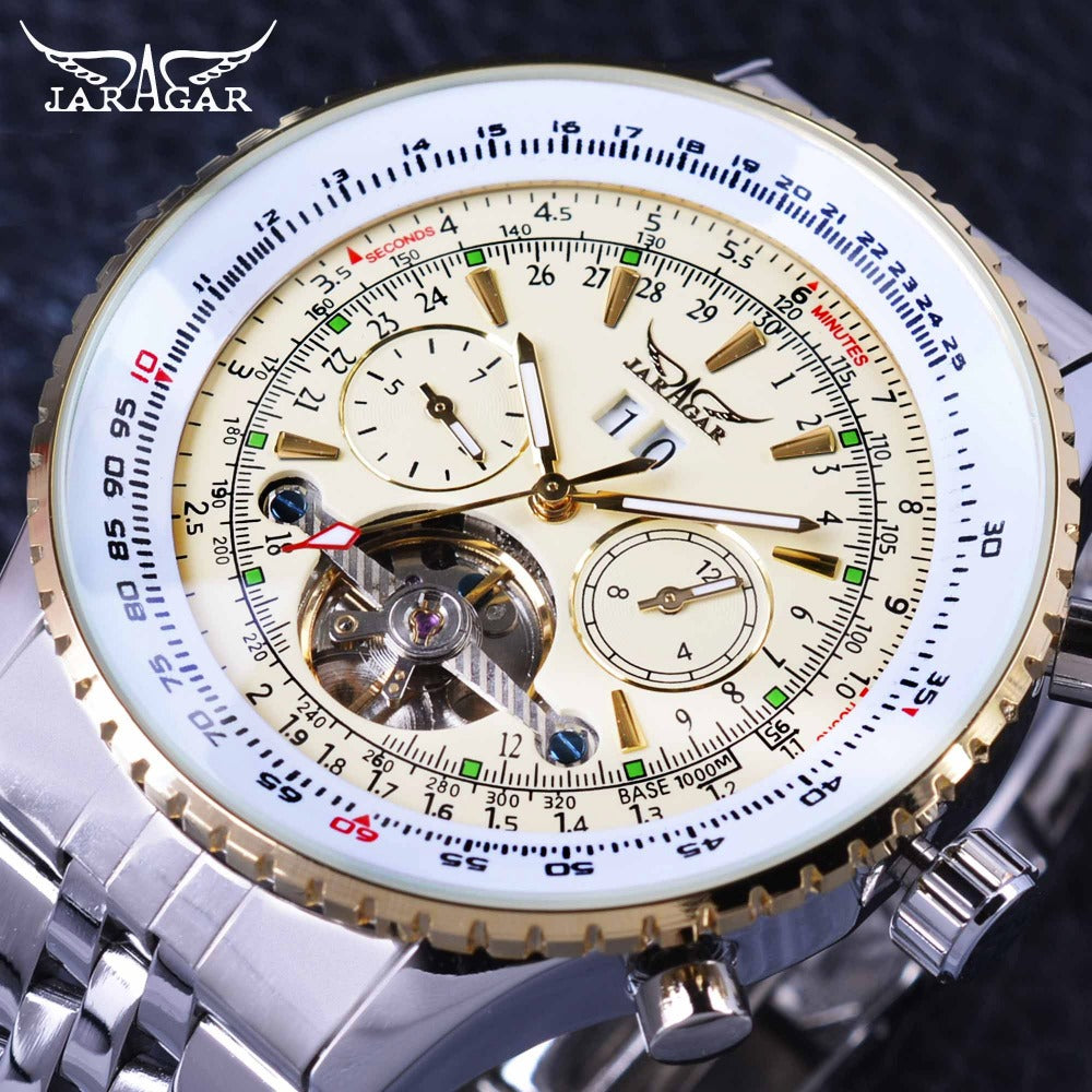 Jaragar Aviator Series Military Scale Yellow Elegant Dial Tourbillon Design Mens Wristwatches Top Brand Luxury Automatic  Wristwatch