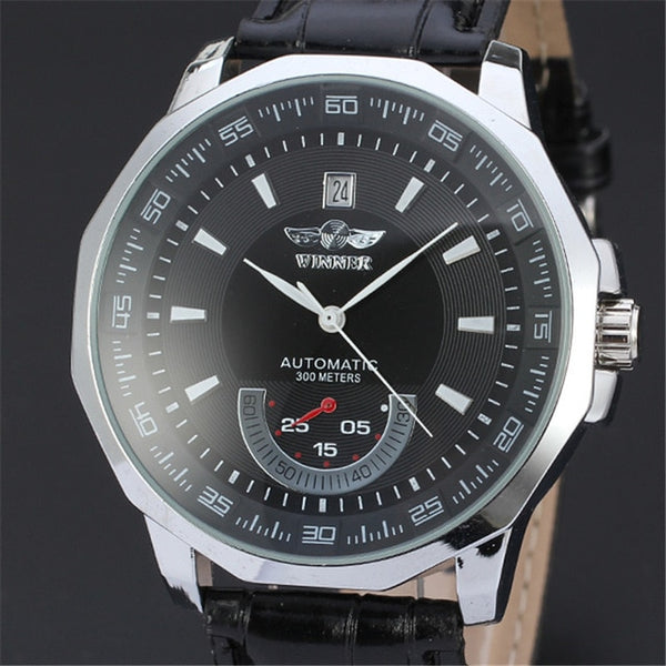New Luxury Brand Winner Men's Automatic Self-winding Mechanical Wristwatches Leather Strap Band Males Casual Wristwatch