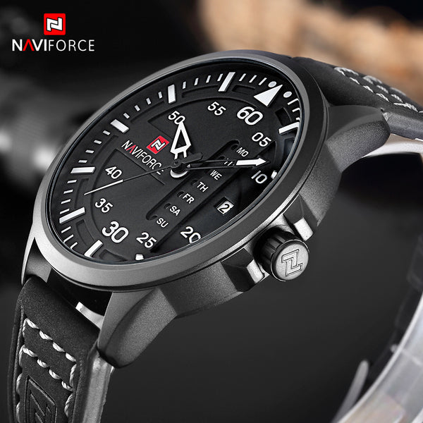 NAVIFORCE Fashion Casual Mens Watches Top Brand Luxury Leather Business Quartz-Watch Men Wristwatch Male Relogio Masculino