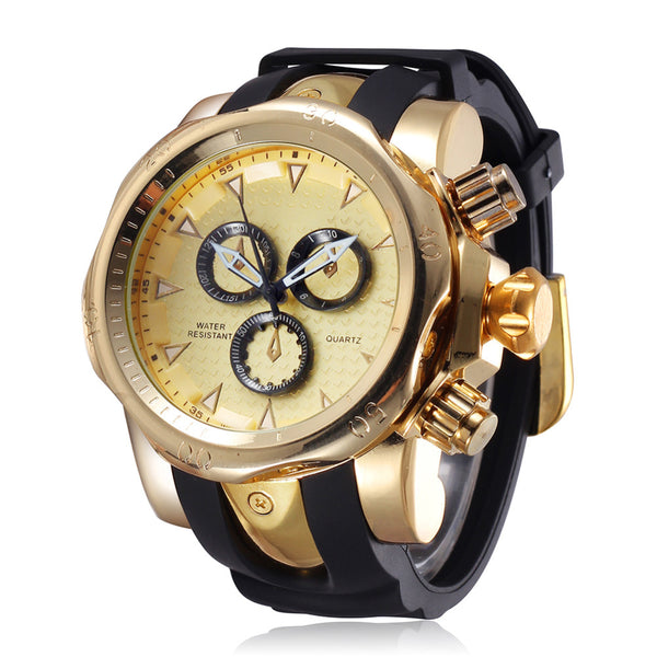 JZ&ZJ Famous Brand Big Dial Wristwatch for Men Quartz Big Face Wristwatches Rubber Band 52MM Rose Gold Men's Wristwatch Luxury Mens Relojios New