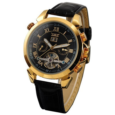 JARAGAR Mens Wristwatches Luxury Golden Case Male Rotatable Bezel Date Day Display Tourbillion Wristwatch Auto Mechanical Relogios