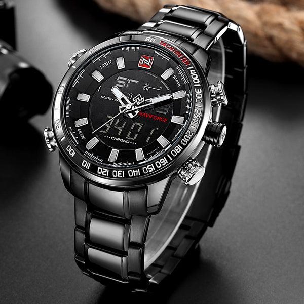 NAVIFORCE Luxury Brand Men Military Sport Wristwatches Men's Digital Quartz Full Steel Waterproof  Wristwatch
