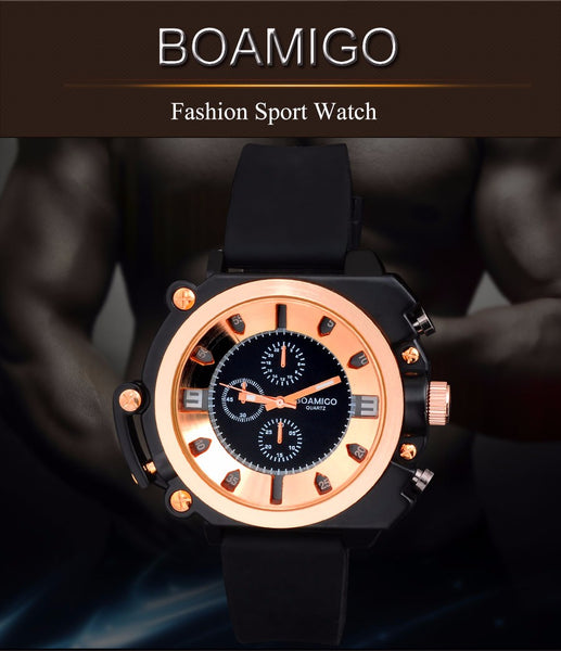 watches men luxury brand BOAMIGO fashion casual sports military analog quartz watches rubber strap wristwatches rose gold
