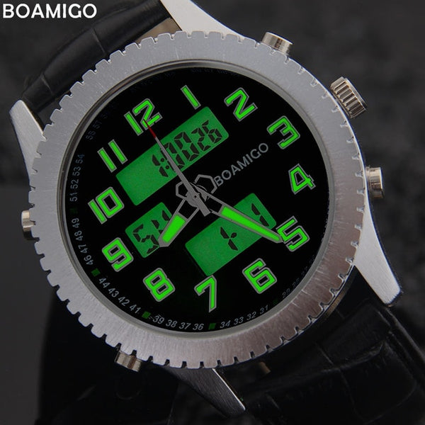 BOAMIGO men casual watches military sport quartz watches brand men's leather band wristwatches 30M waterproof relogio masculino