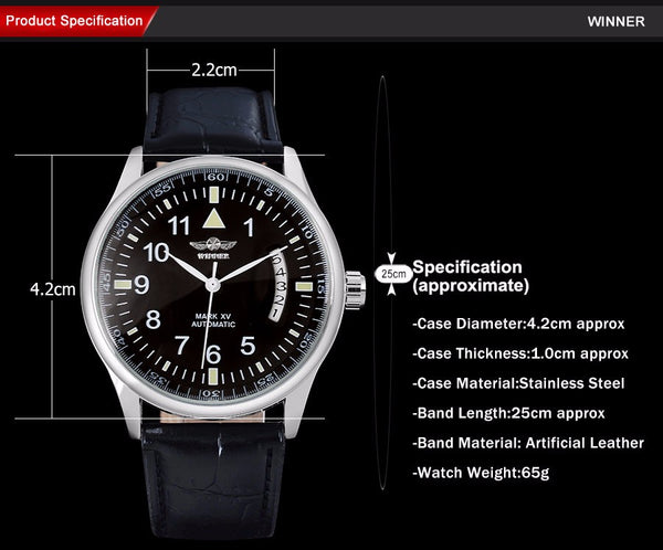 WINNER popular brand men luxury automatic self wind watches big number black dial transparent glass auto date  leather band