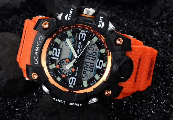 Men Sports Wristwatches BOAMIGO Brand Digital LED Orange Shock Swim Quartz Rubber Wristwatches Waterproof Clock